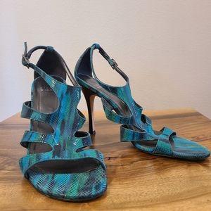 Stuart Weitzman Teal Heel Sandals
